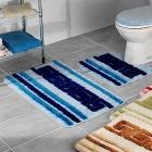 Koupelnová předložka 60x100 cm., Pruhy modré